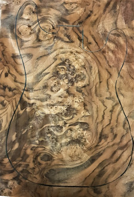 Decorative veneers for guitar body facings  . walnut burl